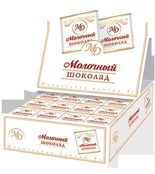 Плитки в шоубоксах «Молочный шоколад» 5г/200шт