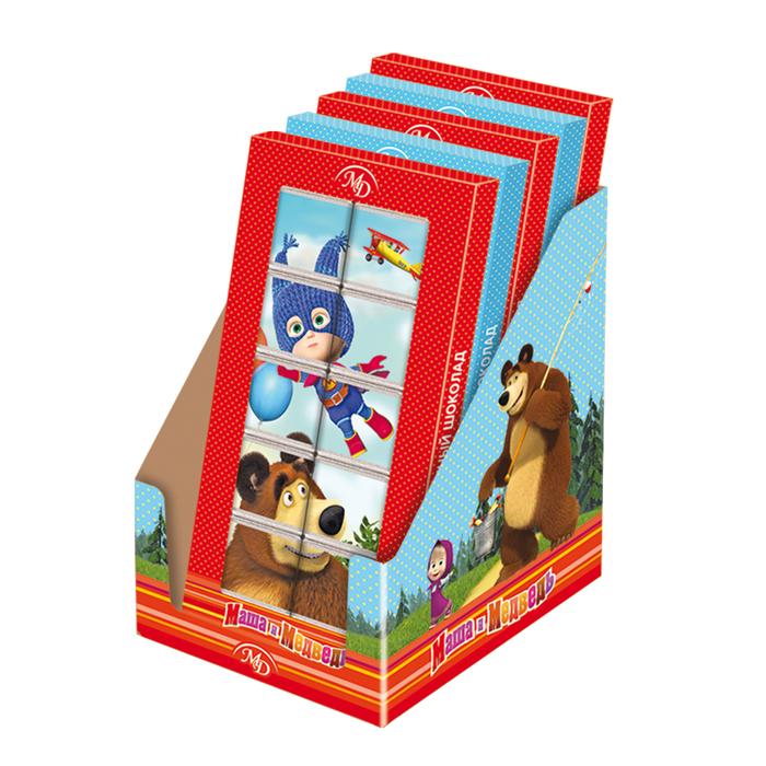 Шоколадный пазл «Маша и Медведь» 50г/12шт молочный шоколад