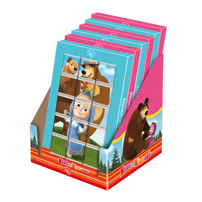 Шоколадный пазл «Маша и Медведь» 75г/12шт молочный шоколад